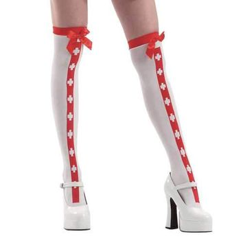 White Red Stripe Nurse Thigh High Costume Tights