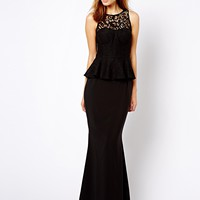 Jarlo Button Peplum Maxi Dress with Lace Collar