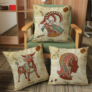 African Heartbeat Theme 12 Horoscope Collection Curated Throw Cushion Covers for Birthday Gift Set