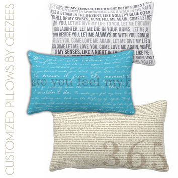 Custom Large Text on on Pillows for Home Decor  - Custom Designed the Way you Want 13x21 (lumbar)
