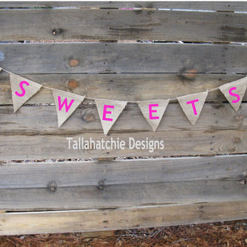 Sweets Burlap Banner Bunting Triangle Pennants Wedding Party Shower Sign Garland