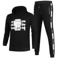 ADIDAS autumn and winter new round neck pullover plus velvet running trousers sports two-piece Black