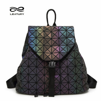 Leatury Luminous Backpack Diamond Lattice Bag