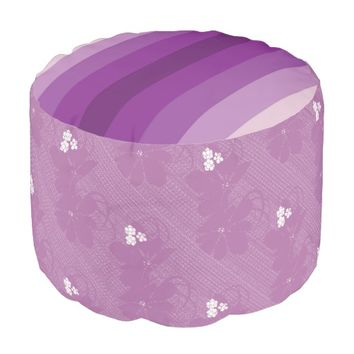 Purple Flowers Stripes Round Pouf Cushion/Seat