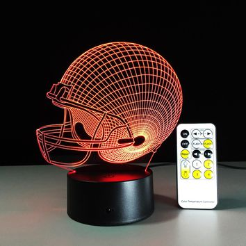 NFL Rugby Helmet 7 Colors Change Touch Remote Control LED Night Lamp Acrylic Panel 3D Illusion Moon Lamp Kids Gift Bedroom Lamp