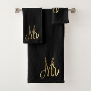Mr. Mister Black and Gold Look Elegant Typography Bath Towel Set