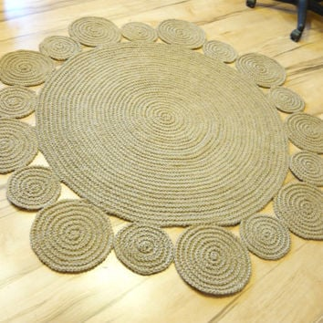 5 ft ( 152 cm ) Playful Round Rug by natural jute
