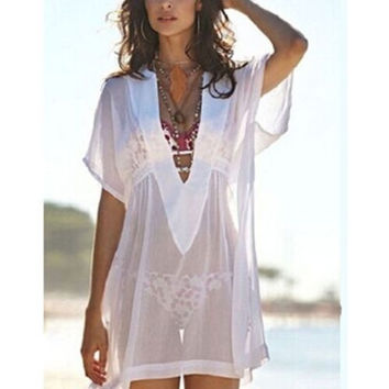 New Women Sheer Chiffon Bathing Suit Sexy Bikini Swimwear Cover Up Beach Dress = 5657584577