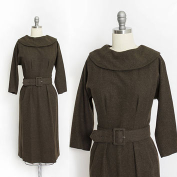 Vintage 1950s Dress - Brown Wool Weave Long Sleeve Fitted Day Dress - Large