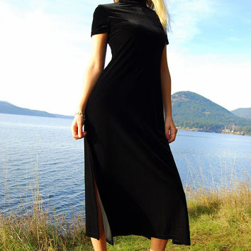 80s Vintage Black Velvet Maxi Dress Small - Med Stretch Fabric Long Dress Short Sleeve High Slit Body Con Dress Sexy Goth Grunge Vamp Dress