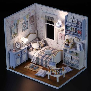 Sunshine Overflowing 3D DIY Wooden Doll House Handmade Mini Puzzle Miniature Furniture Toy Dollhouse Educational Toys Gift