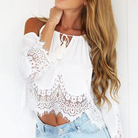 Women's Crop Top Off Shoulder Lace Brouse Tops