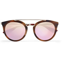 Prada - Cat-eye acetate and gold-tone mirrored sunglasses