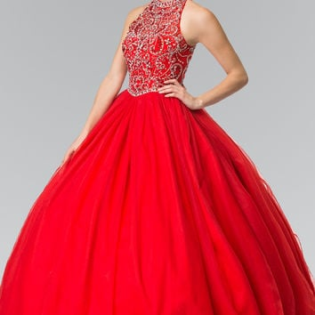 Elizabeth K Mesh High Neck Quinceañera Dress with Beaded Bodice and Corset Back GL 2206