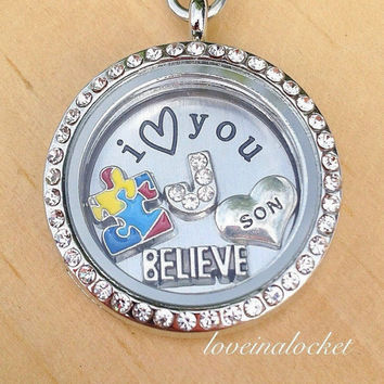 Autism Son Locket, Autism Son Necklace, Autism Awareness, ASD Awareness Gift, Autism Support Gift, Autism Puzzle Piece, Autism Jewelry Gift