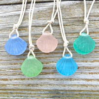 Five Frosted Glass Sea Shell Necklaces Party Pack Best Friends Necklaces