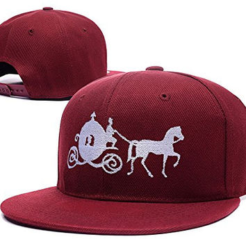 ZZZB Cinderella Carriage Pumpkin Carriage Logo Adjustable Snapback Embroidery Hats Caps - Red