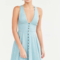 Urban Outfitters Treverse Button-Down Fit and Flare Turquoise Dress - Urban Outfitters