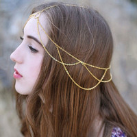 Retro tassel chain headdress
