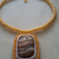 Golden Yellow Statement Necklace, Square Agate Pendant, Unique Handmade Gemstone Sewn Beaded Jewelry Design, One Of A Kind Gift For Woman