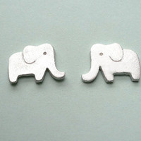 Elephant Silver Stud Earrings  Animal Jewelry  by StudioRhino