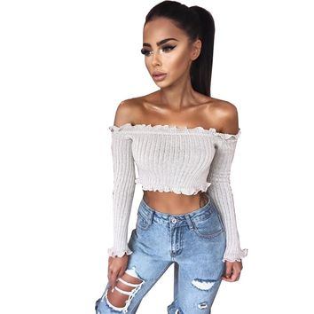 Sexy Off Shoulder Ruffles Ruched Knit Crop Top Women Short Tees Casual