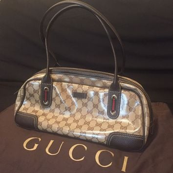 Authentic Gorgeous Gucci Crystal Princy Brown Boston Bag