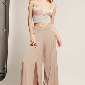 Satin Crop Top and Pants Set