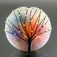 Handmade lampwork 1 glass focal bead dot line-SPRING SUMMER-SRA | pikalda - Jewelry on ArtFire