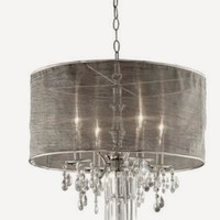 Celling Lamp with Black silk fabric Shade & Crystal like a tear drop design