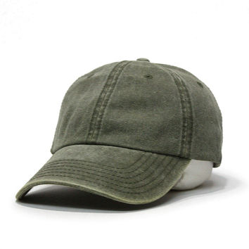 Olive Plain Washed Cotton Twill Baseball Cap with Adjustable Velcro