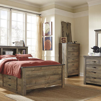 Ramada Plank Full Size Bookcase Captains Bed