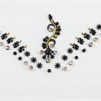 Black Bridal Indian Grecian Bohemian Head Jewellery Jewelry Head Bridal Bindi Tikka Stick on Bindi Body Art  falseTattoo Bhindi