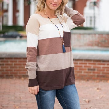 Color Block Pocket Sweater, Cocoa-Ivory