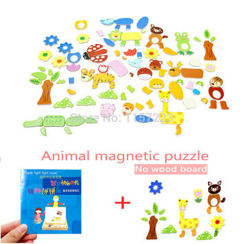 4 styles Animal Farm Forest Cartoon figure Wooden Magnetic Puzzle Toys Multifunctional Educational Jigsaw toy for Children Kids