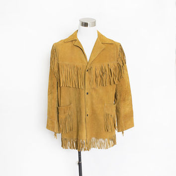 Vintage 1970s Jacket - FRINGE Brown Suede Western Boho Leather Coat 70s - Large