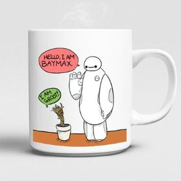 Hallo Baymax Big Hero 6 and Groot Guardians of Galaxy Mug 11oz Ceramics