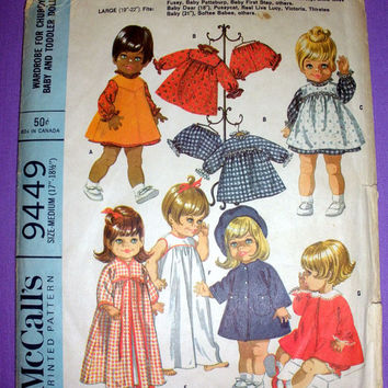 "Vintage 1960's Doll Clothes Size Medium 17"" - 18.5"" Doll McCall's 9449 Sewing Pattern Baby Doll Wardrobe"