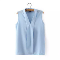 V-Neck Sleeveless Pleated Chiffon Blouse
