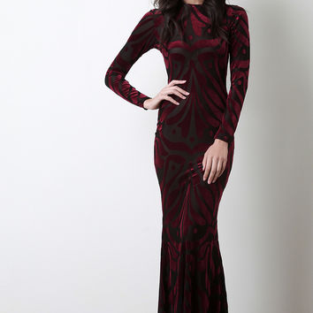 Burnout Velvet Mermaid Maxi Dress | UrbanOG