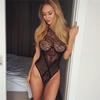 New Sexy Halter Floral Sleeveless Bodysuit Women Skinny Black Lace Trim Jumpsuit Hollow Out Romper Slim Backless Party Playsuit