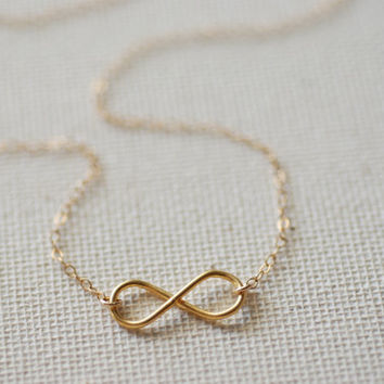 Gold Sideways Infinity Necklace,24k gold vermeil charm, Minimalist infinity, Infinity Pendant, Bridesmaid Jewelry, Forever necklace