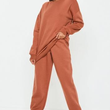 Missguided - Rust 80's Brushback Joggers