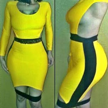 Yellow and Black Cutout Back Bodycon Dress with Slit
