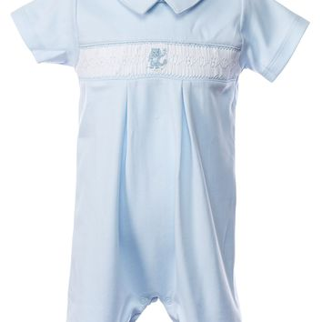 Baby Threads Boys Smocked Blue Romper