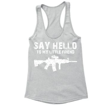 XtraFly Apparel Women's Say Hello Rifle 2nd Amendment Racer-back Tank-Top