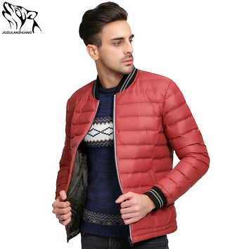 Parka's Winter Jas Mannen Double-sided Wear Men's Thin Ultra Light Down Jacket Baseball Models Duck Down Jacket Men Lightweight