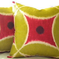20 X 20 Chartreuse Watermelon Ikat pillow cover