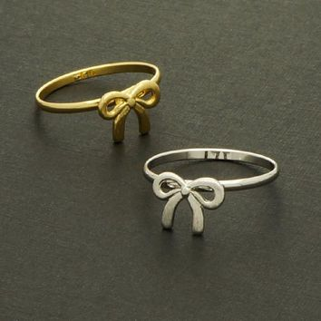 New Knot Ribbon Ring / ribbon tie ring, simple ribbon ring, gift ring, gift for her, dainty girl's ring / R037