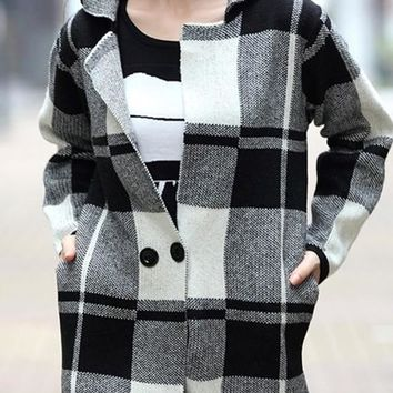 Black Plaid Pockets Turndown Collar Long Sleeve Cardigan Sweater